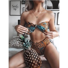 Sexy Brazilian Bikini Women Print Swimsuit Push Up Two-piece Bikini Set Tie