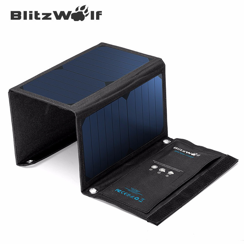 BlitzWolf Neueste 28 watt 3.8A Portable Solar Cell Power Bank Faltbare Power USB Solar Panel Ladegerät Mit Power3S SunPower