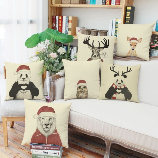 nordic style deer decorative cushion cover 44x44cm christmas decorations for home throw pillows cojines almofadas - Nordic Style Christmas Decorations