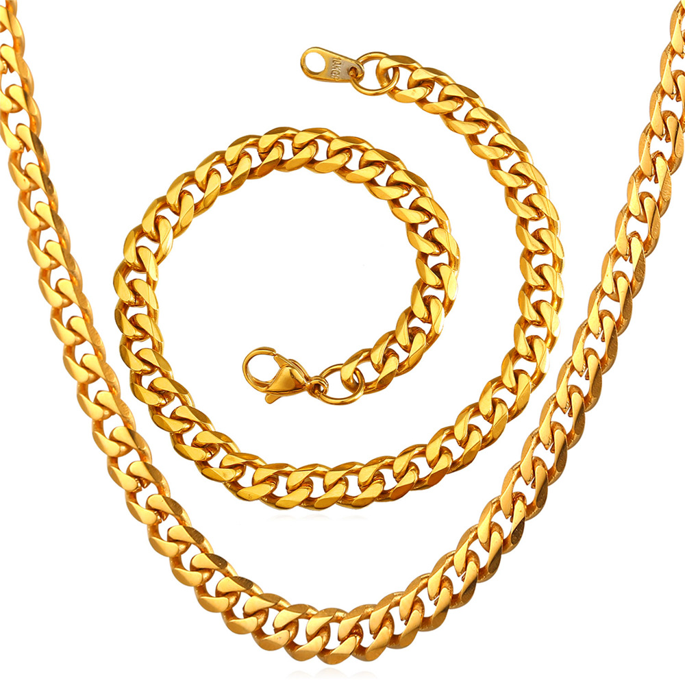 6mm Stainless Steel Necklace Bracelet Set Mens Jewelry Yellow Gold Color  Curb Cuban Link Chain Dubai