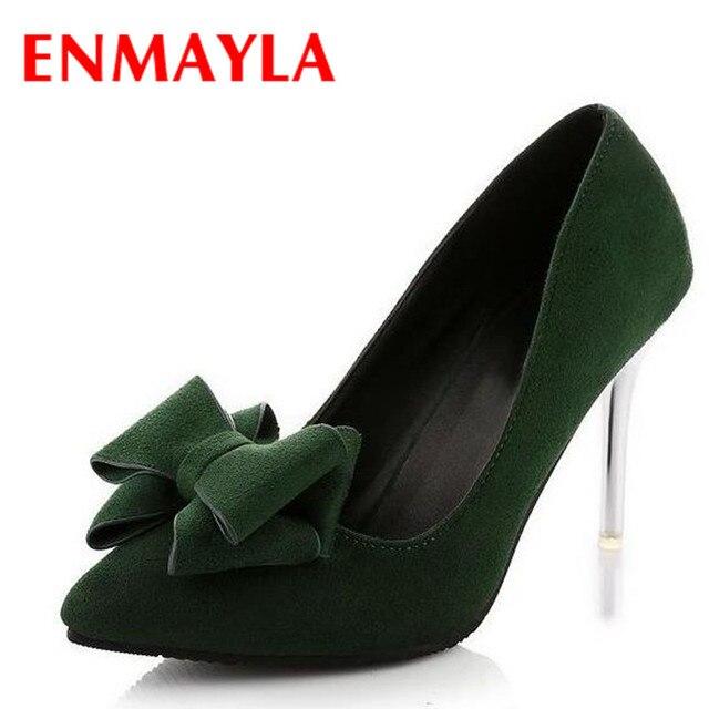 ENMAYLA Negro Verde Bowtie 9.5 cm Altos Talones de Las Mujeres Bombas de Punta estrecha Flock Zapatos Mujer Tamaño 35-39 Zapatos de Las Señoras Bombas