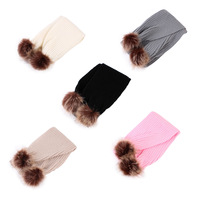 1pcs Winter Baby Warm Scarf Lovely Fur Pompom Knitted Crochet Scarf Children Kids Boys Girls Rings