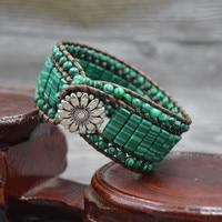 Handmade Women Fashion Bracelet Vintage Leather Wrap Bracelet Malachite Natural Stone Beaded Cuff Bracelet