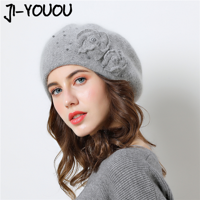d323a6216512e Double layer design winter hats for women hat rabbit fur for Pearl inlay knitted  hat Big