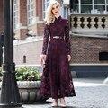 2016 de buena calidad mujeres de la manera vestido de encaje vestido maxi largo