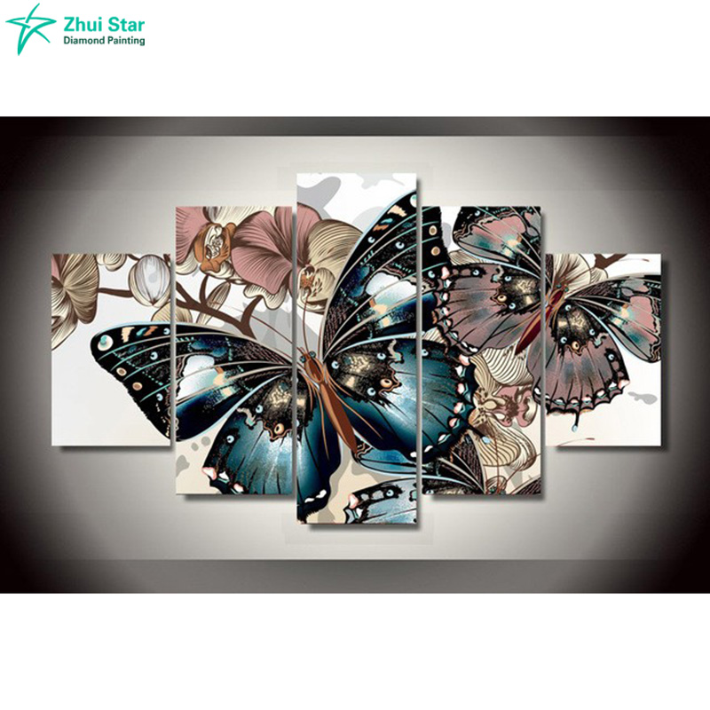 diy 5pcs/set mosaic full 5d diamond embroidery beautiful butterfly 3d diamond painting cross stitch square drill multi-pictures