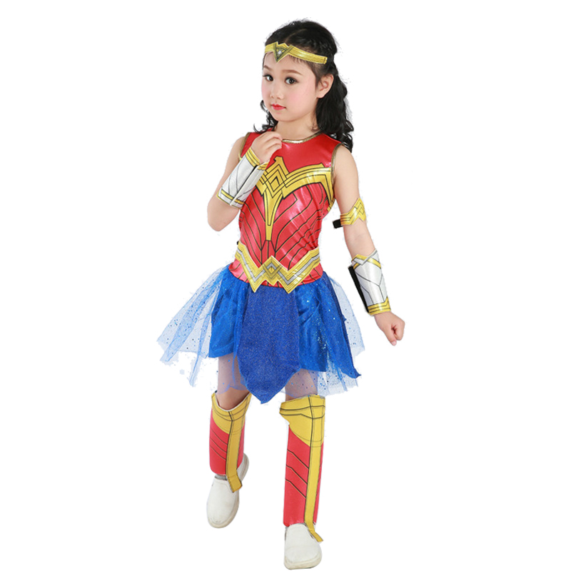 Wonder Woman Cosplay Costumes Girls Fancy Party Dress Justice League Spiderman Supper Hero Cosplay Christmas Halloween Costume