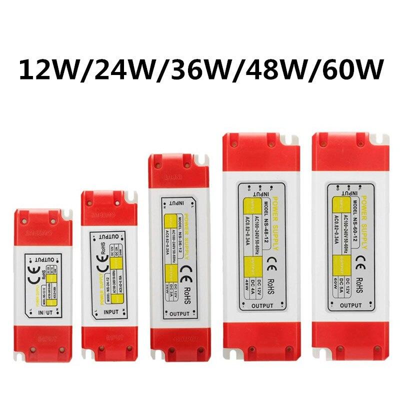 цена на 12/24/36/48/60W AC100-240V To DC 12V LED Driver Power Supply Adapter Transformer For LED Strip Light Bulbs