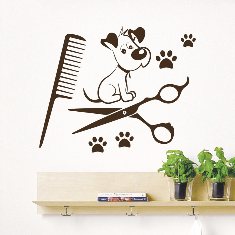 Cute Dog Paw Viny Wall Sticker Kids Room Art Decals Pet Shop Creative Wall Paper Bedroom ...