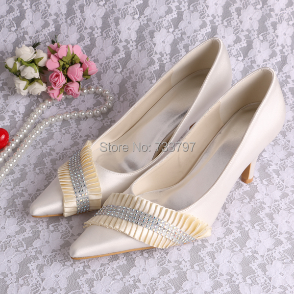 Women Pumps High Heel Evening Shoes for Women Med Heeled Wedding Shoes Pointed with Jewelry