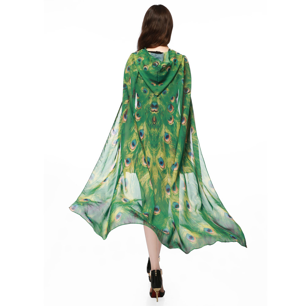 New Women Novelty Print Chiffon Butterfly Wing Cape Scarf Peacock Poncho Shawl Wrap Summer Scarf Ponchos And Capes Para Mujer