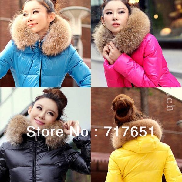 HOT 4 COLORS Women's Outwear Winter Coat jacket Warm Hoodie Down Faux Fur Collar