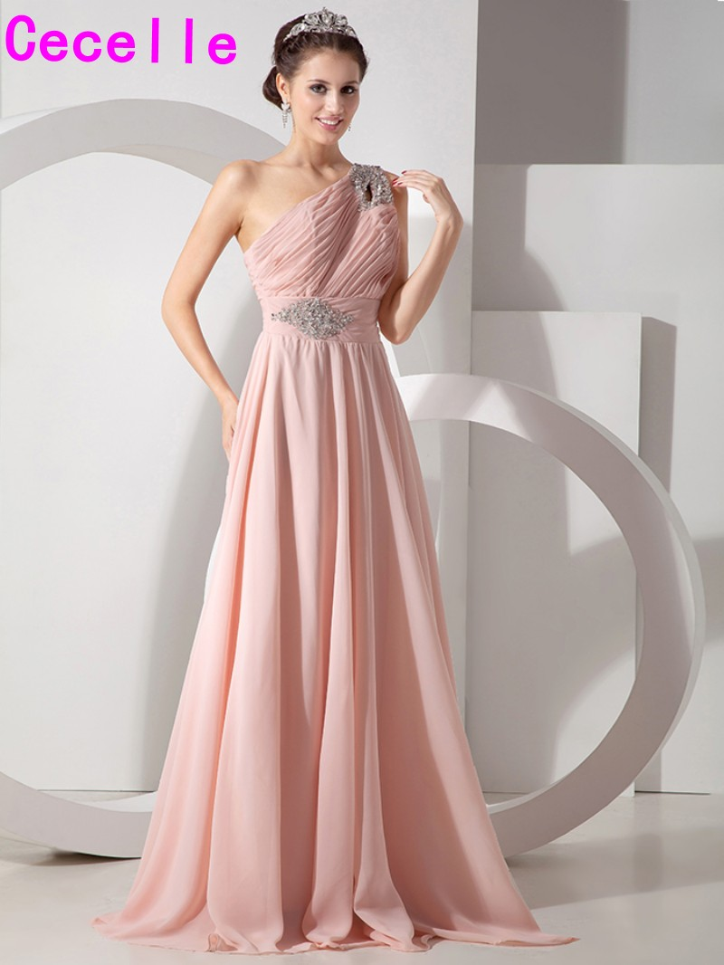 Blushing chiffon long bridesmaid dresses a line one shoulder floor blushing chiffon long bridesmaid dresses a line one shoulder floor length pink women formal wedding party dress maids of honor in bridesmaid dresses from ombrellifo Images