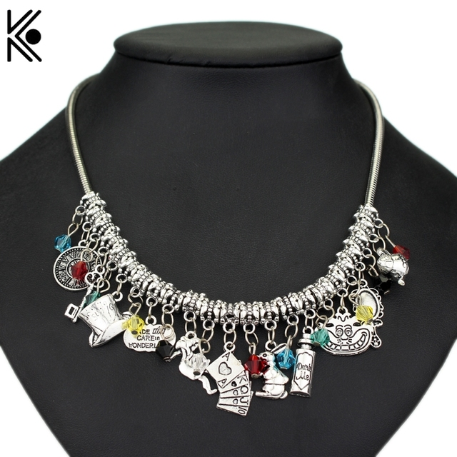 Epacket Alice in Wonderland choker necklace Maxi Punk Type Women Short Necklaces With Hat Drink Me key Fashion Accessories Gift
