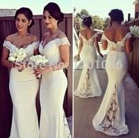 Custom Made 2017 Mermaid V Neck Cap Sleeves White Satin Lace Long Cheap Bridesmaid Dresses Under