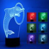 Nuova Smart Home USB Powered 3D Luce Variopinta di Notte Delfini Modo Semplice Atmosfera di Festa Lampada Luci Colorate Colori Acrilici
