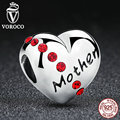 2017 New Authentic 925 Sterling Silver Red Crystals Heart Mother Beads Charms fit Pandora Bracelets Mother Gift C018