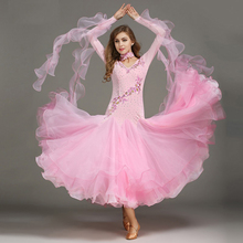 Kleuren blauw pailletten ballroom waltz jurken voor stijldansen Standaard Concurrentie standaard dans jurk vrouw foxtrot jurk