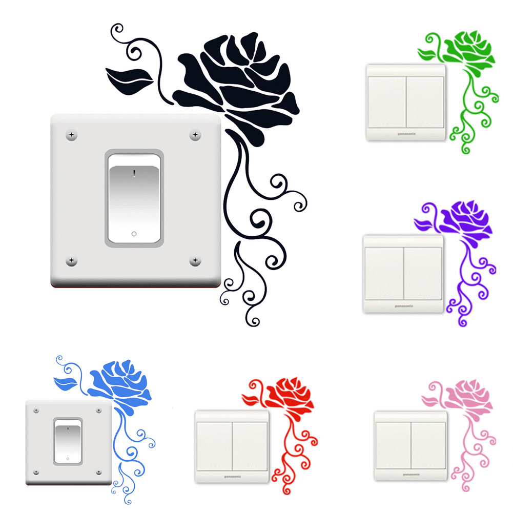 Rose Flower Design Baby Nursery Kids Bedroom Wooden: 1pc New Rose Flowers Switch Sticker Decorative Wall Decal