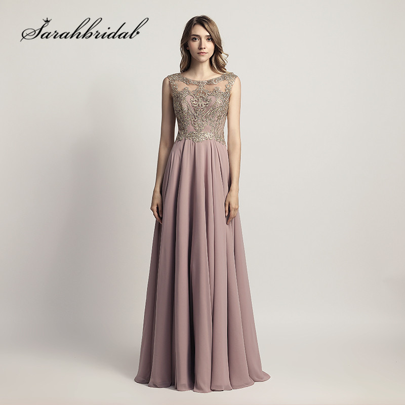 2019   Prom     Dresses   Long Sexy Sheer Neck Mocha Blush Chiffon Embroidery Beaded New Evening Party Gowns Floor Length A Line CC475