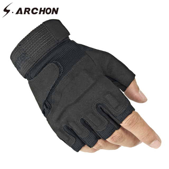 S.ARCHON US Army Tactical Fingerless Gloves Men Anti-Skid Half Finger Military Shooting Mittens Male SWAT Fighting Combat Glove 3