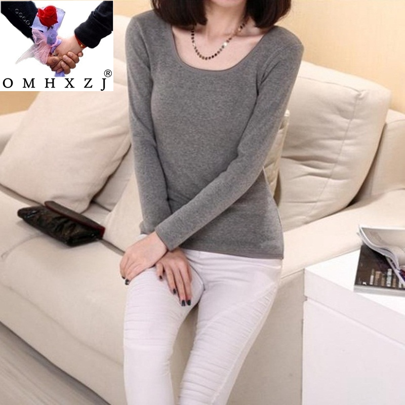OMH 6 Color Winter Tops Low Collar Pure Color Seamless Thermal Underwear Warm Fashion Women Comfortable Long Johns Tops UN08