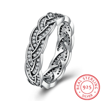 HERMOSA Authentic 925 Sterling Silver Ring Eternity Sparkling Braided Crystal Ring For Women Compatible Wedding Jewelry