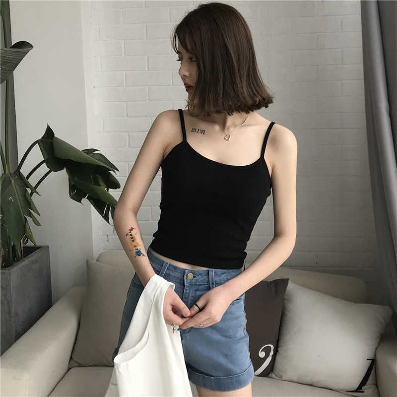 Casual Spaghetti Strap Top Women Halter V Neck Basic White Cami Sleeveless Backless Tank Tops Women'S Summer Camisole Elastic