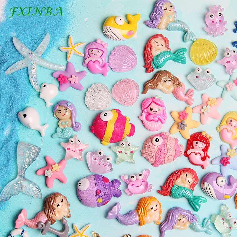 FXINBA 1/3/5/10pcs Ocean Series Charms For Slime Filler DIY Ornament Phone Decora Mermaid Charms Lizun Clay Slime Supplies Toys