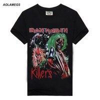Aolamegs T Shirt Men Metal Rock Iron Maiden 3D Print Tshirt Male Street Hip Hop Cotton