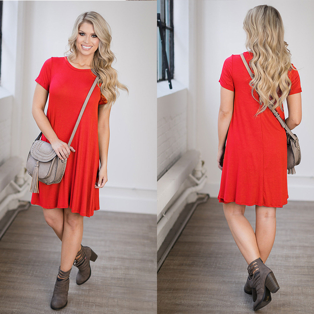 Cotton T Shirt Dress Summer 2017 Fashion Short Sleeve Women Everyday Dresses Knee Length Loose Casual Women Dress Clothing