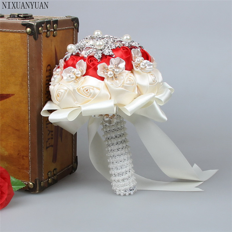 Vintage Artificial Flowers Waterfall Wedding Bouquets With Crystal Bridal Brooch Bouquets Brides Bouquet De Mariage 2019