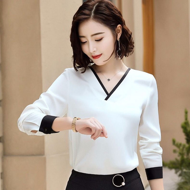 Women Chiffon Blouses V-Neck Zipper OL Long Sleeves Loose Shirt Blouse Blusa Feminina elegant solid color Plus Size DD2353 4
