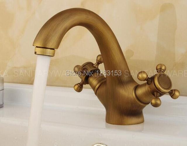 high quality brass bronze double handle basin tap antique faucet ...