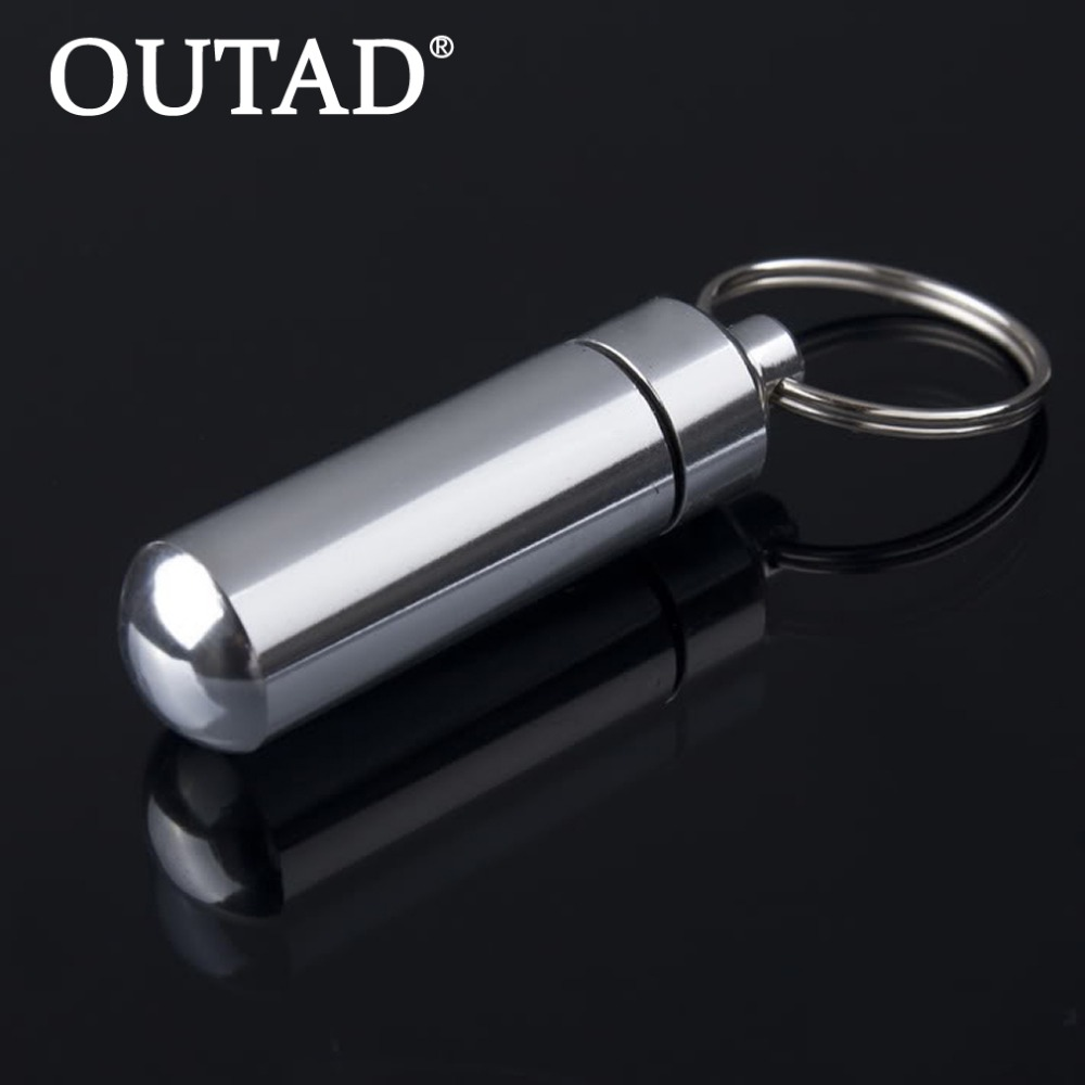 OUTAD 1Pcs Key Holder Aluminum Waterproof Pill Shaped Box Bottle Holder Container Keychain Medicine Keyring Box Wholesale