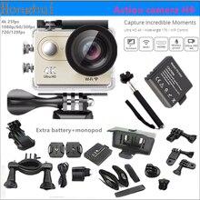 Original cámara de Acción Ultra HD 4 K H9 WiFi 1080 P/60fps 2.0 LCD 170D Casco lente ir a prueba de agua pro cámara 2 batería + monopie