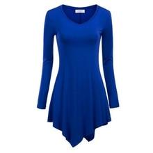Women Handkerchief Hem Line Long Sleeve Lightweight Knitting Tunic Tops T-shirts