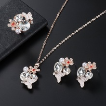 Crystal butterfly earrings necklace ring set jewelry, exquisite bridal jewelry