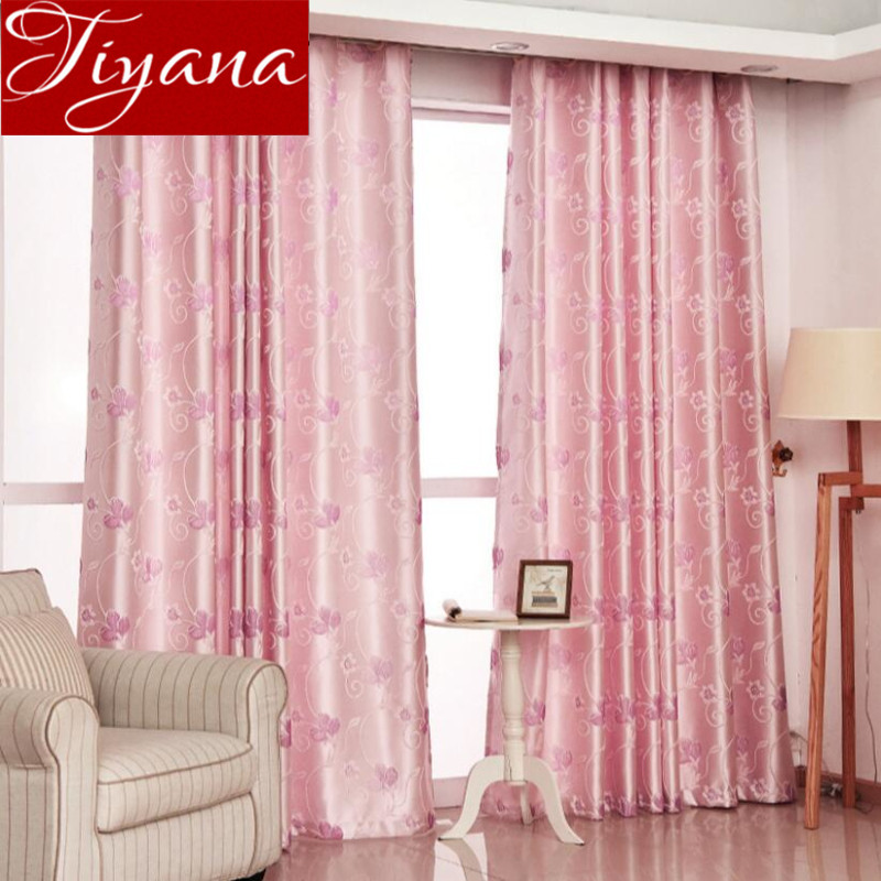 Jacquard Curtains Pink Sheer Voile Modern Window Living
