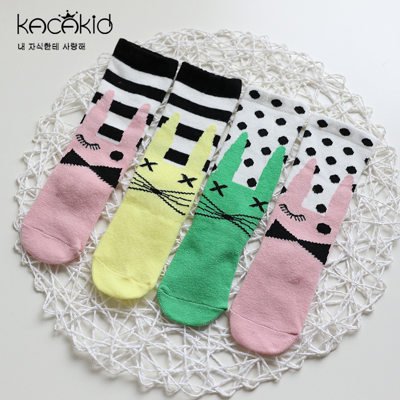 Kacakid Autumn new childrens socks baby boy girls asymmetry socks kids cartoon dots fashion small long socks