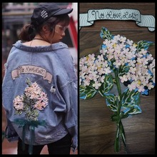 1 Set factory direct price 2019 NEW arrival 2D appliqued embroidery patches for jeans! Lovely girls clothing diy lace applique