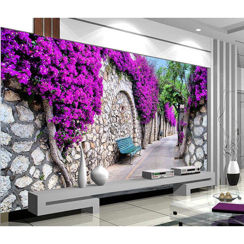 High quality castle road purple flower 3d clear for Purple living room wallpaper