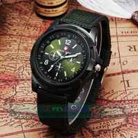100pcs/lot Fashion Nylon Material Strap Men Quartz Watch Military Watches Army Watch Wholesale Price Dress Wristwatch