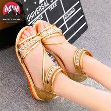 Women's Casual Sandals  Summer Fashion Flat Heel Sweet Princess Small Fresh  Bohemia Rhinestone Sandals Size 35~40