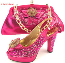 doershow Latest lady Italian design matching shoes and bag set for wedding and party  PQS1-15