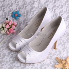 Latest Design Rhinestone Crystal Open Toe Platform High Heel Wedding Shoes for Women White