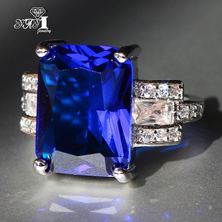 YaYI נסיכת אופנה ענק Cut 7.9 CT תכשיטי זירקון הכחול צבע כסף טבעות נישואים טבעות אירוסין טבעות מסיבת
