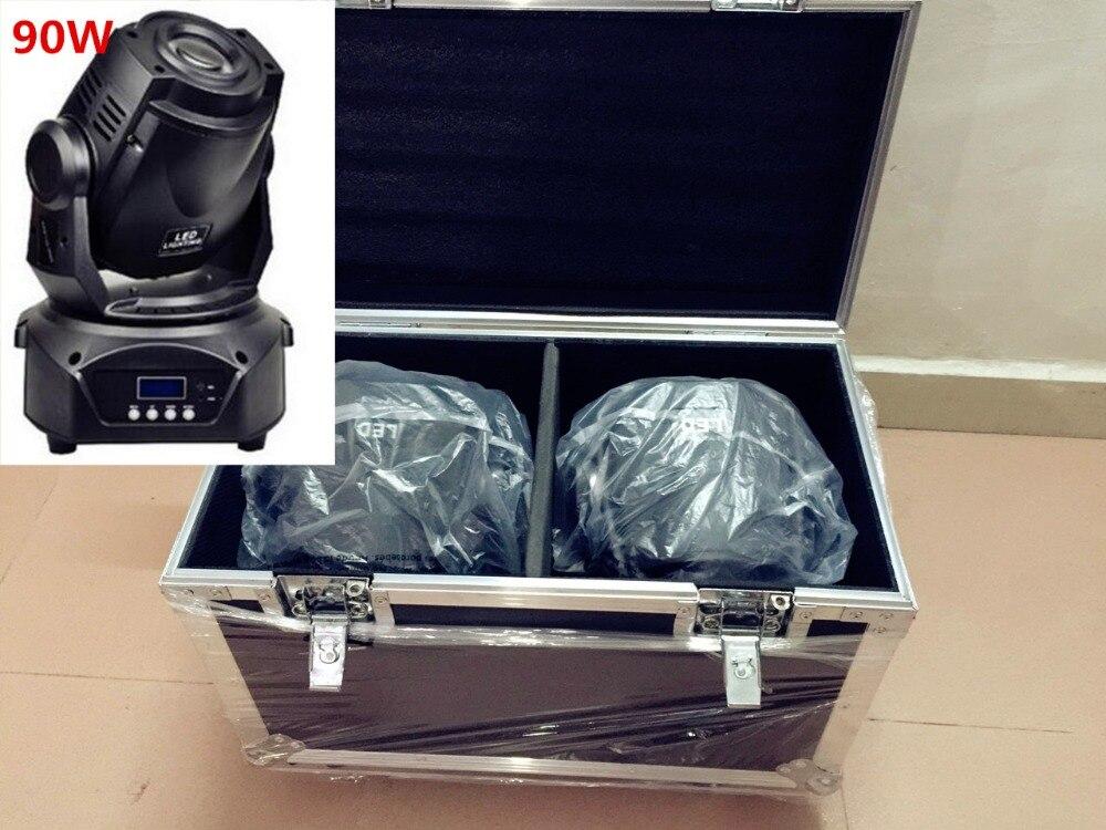 2pcs/lot 90W LED moving head + flight case 90W spot moving head light led 90w spot light stage dj movinghead equipment