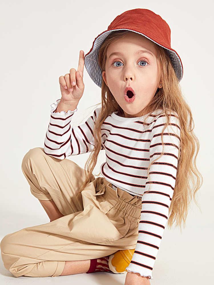 Balabala الاطفال الفتيات طويلة الأكمام تي شيرت مخطط القمم الأطفال طفل فتاة القمم مع ربطة القوس فيونكة في طوق الخريف الملابس الملابس