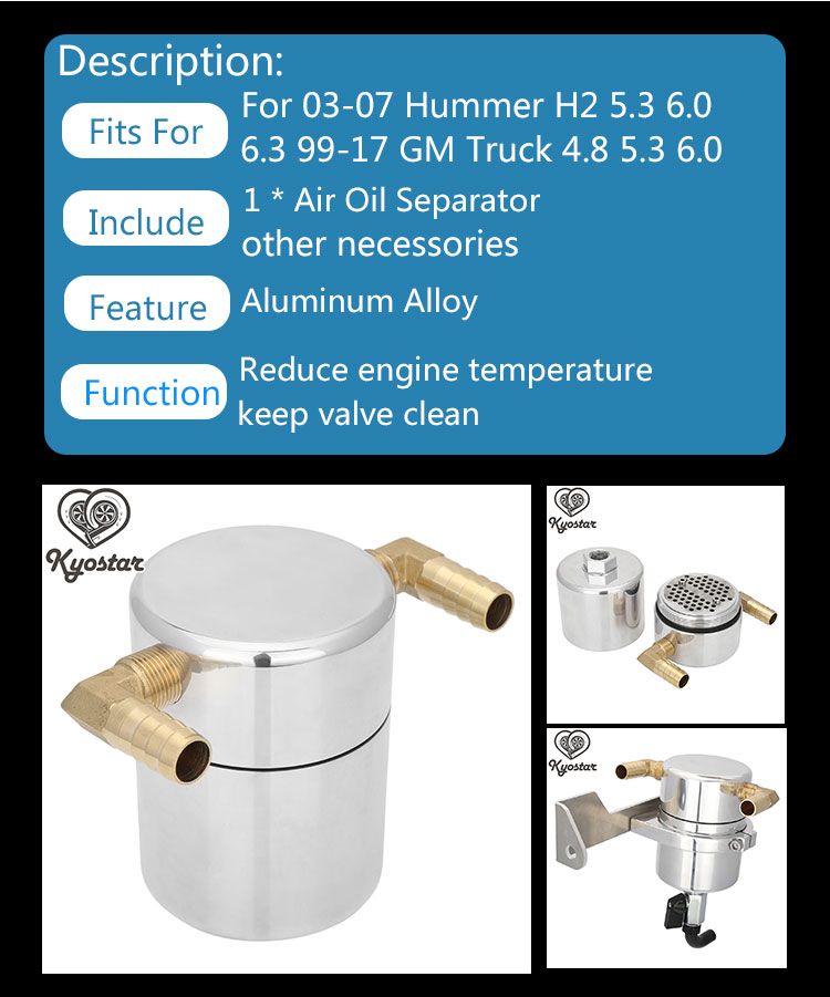 Air Oil Separator For 03-07 Hummer H2 5.3 6.0 6.3 99-17 GM Truck 4.8 5.3 6.0